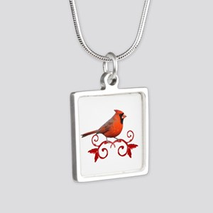 Beautiful Cardinal Silver Square Necklace