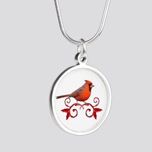 Beautiful Cardinal Silver Round Necklace