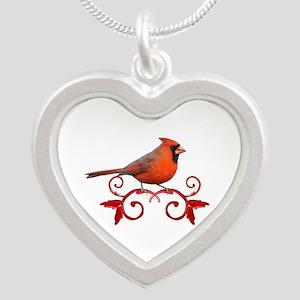 Beautiful Cardinal Silver Heart Necklace