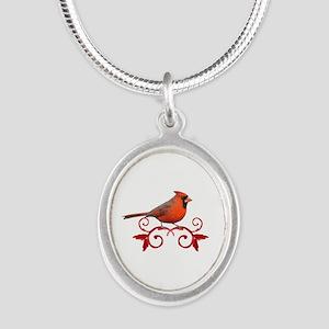 Beautiful Cardinal Silver Oval Necklace