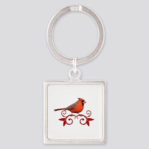 Beautiful Cardinal Square Keychain