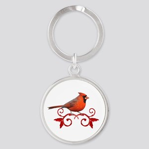 Beautiful Cardinal Round Keychain