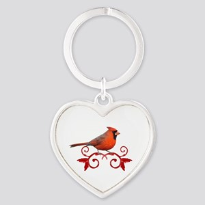 Beautiful Cardinal Heart Keychain