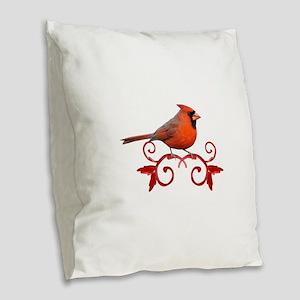 Beautiful Cardinal Burlap Throw Pillow