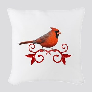 Beautiful Cardinal Woven Throw Pillow