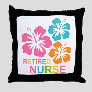 Hibiscus Retired Nurse Throw Pillow