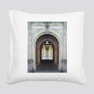Corridor of Pillars Square Canvas Pillow