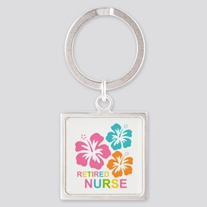 Hibiscus Retired Nurse Square Keychain