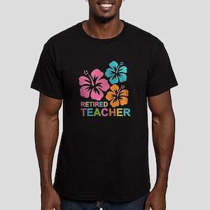 Hibiscus Retired Teach Men's Fitted T-Shirt (dark)