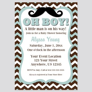 Blue Chevron Mustache Baby Shower Invitations