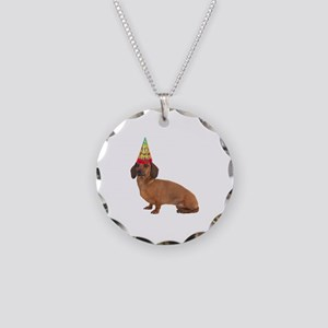 Smooth Red Dachshund Necklace Circle Charm