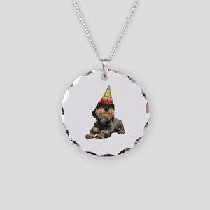 Wirehaired Dachshund Birthda Necklace Circle Charm