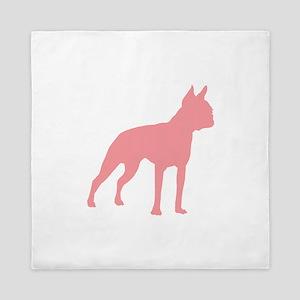 Boston Terrier Retro Pink Queen Duvet