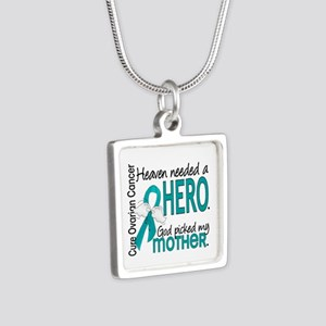 Ovarian Cancer Heaven Need Silver Square Necklace