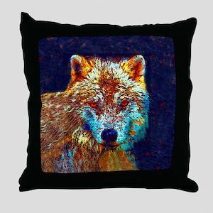 Pop Art Wolf Throw Pillow