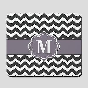 Gray Purple Chevron Monogram Mousepad