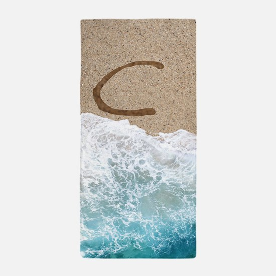 LETTERS IN SAND C Beach Towel