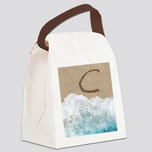 LETTERS IN SAND C Canvas Lunch Bag