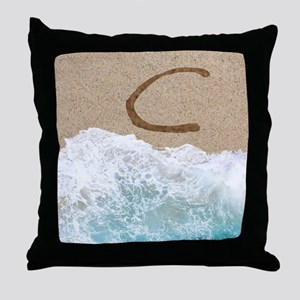LETTERS IN SAND C Throw Pillow