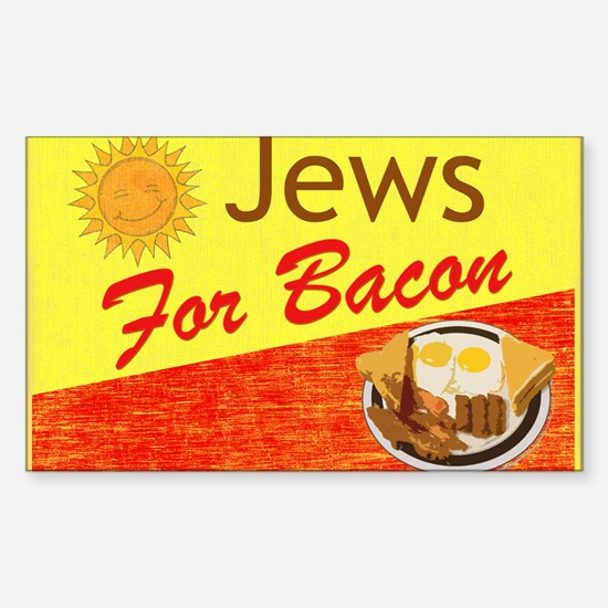 Jews For Bacon Rectangle Decal