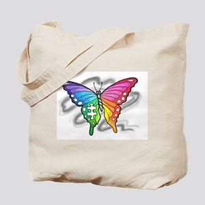 Rainbow butterfly with Puzzle piece Tote Bag