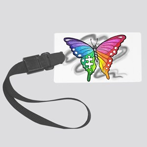 Rainbow butterfly with Puzzle piece Luggage Tag