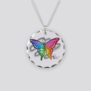 Rainbow butterfly with Puzzle piece Necklace
