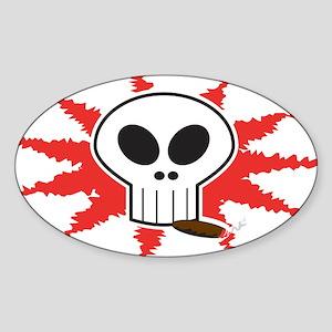 Smoking Skull Oval Sticker