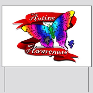 Autism Awareness Butterfly Design Yard Sign