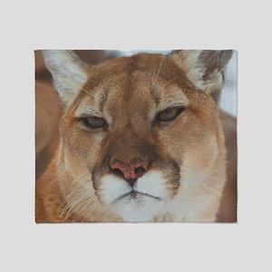 Big Faced Cougar Throw Blanket