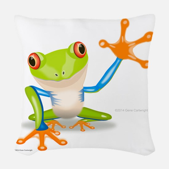 Fred Frog Woven Throw Pillow