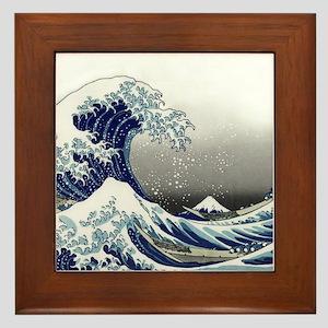 great wave of Kanagawa hokusai Framed Tile