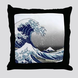 great wave of Kanagawa hokusai Throw Pillow