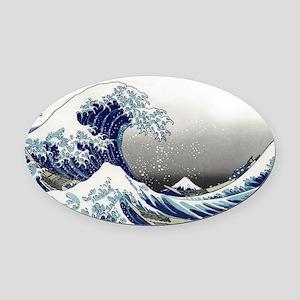 great wave of Kanagawa hokusai Oval Car Magnet