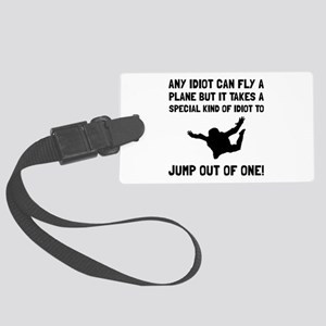Idiot Skydiving Luggage Tag