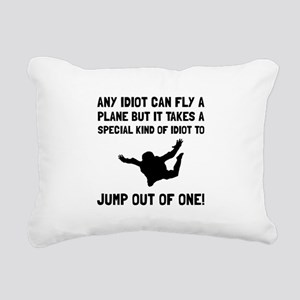 Idiot Skydiving Rectangular Canvas Pillow