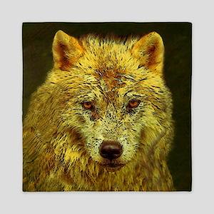 Golden Pencil Wolf Queen Duvet