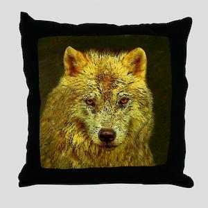 Golden Pencil Wolf Throw Pillow