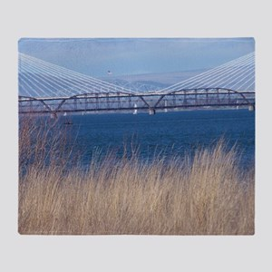 Cable Bridge Near Pasco, Washington Throw Blanket
