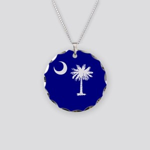 Palmetto Moon State Flag Necklace Circle Charm