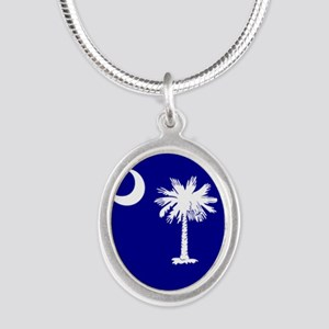 Palmetto Moon State Flag Silver Oval Necklace