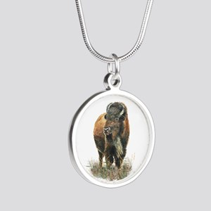 Watercolor Buffalo Bison Animal Art Necklaces