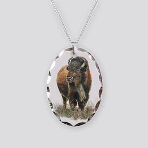 Watercolor Buffalo Bison Necklace Oval Charm