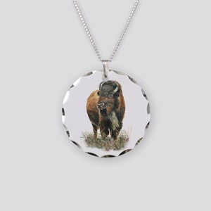 Watercolor Buffalo Bison Necklace Circle Charm