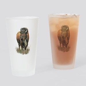 Watercolor Buffalo Bison Animal Art Drinking Glass