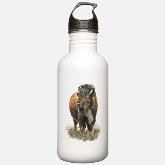 Watercolor Buffalo Bison Animal Art Water Bottle