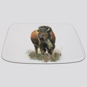 Watercolor Buffalo Bison Animal Art Bathmat