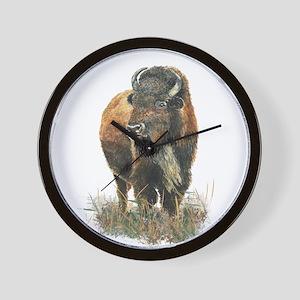 Watercolor Buffalo Bison Animal Art Wall Clock