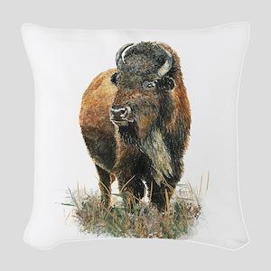 Watercolor Buffalo Bison Animal Art Woven Throw Pi