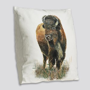 Watercolor Buffalo Bison Animal Art Burlap Throw P